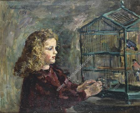 A girl with a bird, 1954 by Pyotr Konchalovsky (1876-1956, Russia)