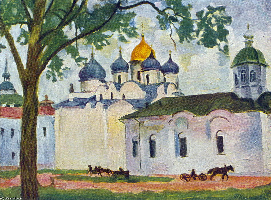 Novgorod. Square ??of St. Sophia Cathedral., 1928 by Pyotr Konchalovsky (1876-1956, Russia) | Museum Art Reproductions | ArtsDot.com