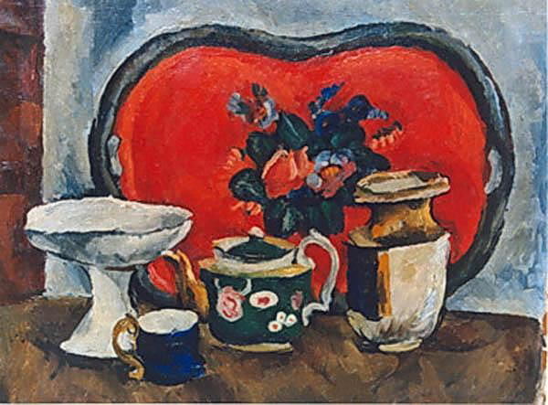 Still Life with a red tray., 1916 by Pyotr Konchalovsky (1876-1956, Russia)