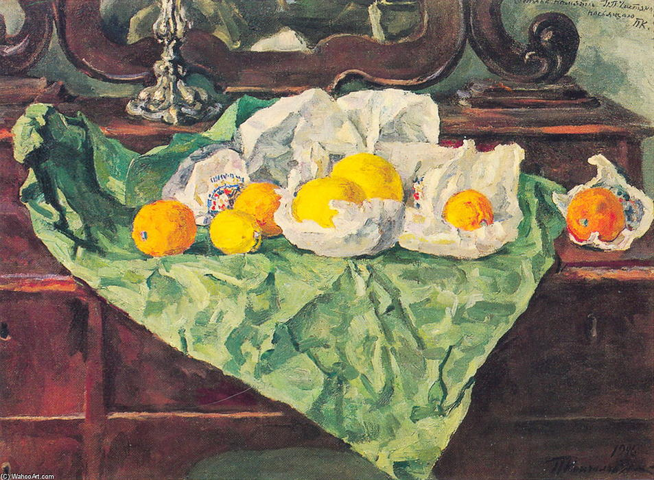 Still Life. Oranges and crumpled paper., 1946 by Pyotr Konchalovsky (1876-1956, Russia)