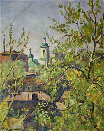 View from window, 1943 by Pyotr Konchalovsky (1876-1956, Russia)