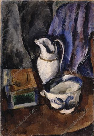 Still Life with a jug, 1910 by Pyotr Konchalovsky (1876-1956, Russia) | Museum Art Reproductions | ArtsDot.com