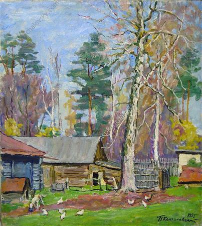 Backyard, 1955 by Pyotr Konchalovsky (1876-1956, Russia)