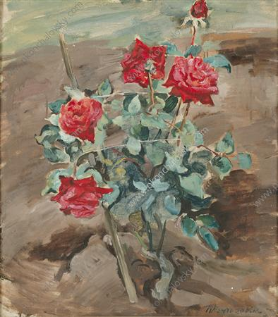 Roses in the ground, 1935 by Pyotr Konchalovsky (1876-1956, Russia)