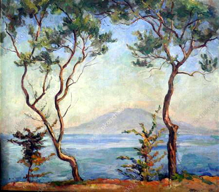 Sorrento. Mount Vesuvius. Two olive trees., 1924 by Pyotr Konchalovsky (1876-1956, Russia)