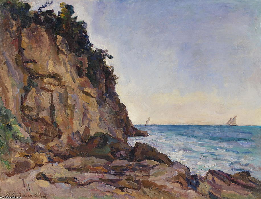 Rocks and sails, 1924 by Pyotr Konchalovsky (1876-1956, Russia) | ArtsDot.com