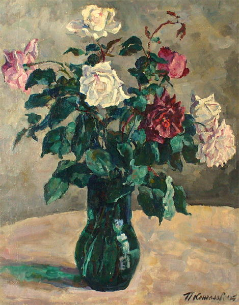 Roses in a Jug, 1936 by Pyotr Konchalovsky (1876-1956, Russia)