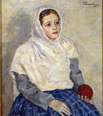 Margot wearing a headscarf, 1949 by Pyotr Konchalovsky (1876-1956, Russia) | Museum Quality Reproductions | ArtsDot.com