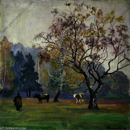 Mist. Landscape with Cows., 1934 by Pyotr Konchalovsky (1876-1956, Russia)