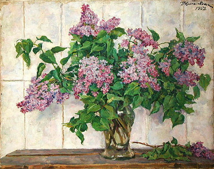 Still Life - Lilacs in a glass jar against the stove, 1933 by Pyotr Konchalovsky (1876-1956, Russia)