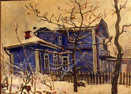 The first snow. The blue cottage., 1938 by Pyotr Konchalovsky (1876-1956, Russia) | Art Reproduction | ArtsDot.com