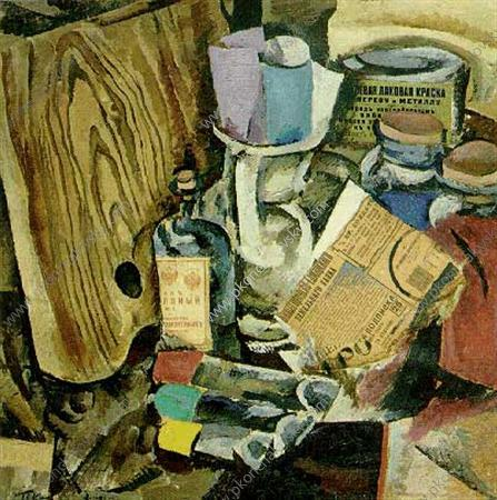 Still Life. The palette and paint., 1912 by Pyotr Konchalovsky (1876-1956, Russia)