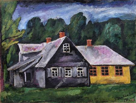 Abramtsevo. Landscape with carpentry., 1911 by Pyotr Konchalovsky (1876-1956, Russia) | Museum Art Reproductions | ArtsDot.com