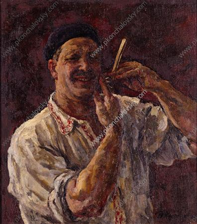 Self-Portrait with a razor, 1926 by Pyotr Konchalovsky (1876-1956, Russia)