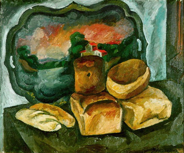 Breads and the tray, 1912 by Pyotr Konchalovsky (1876-1956, Russia)