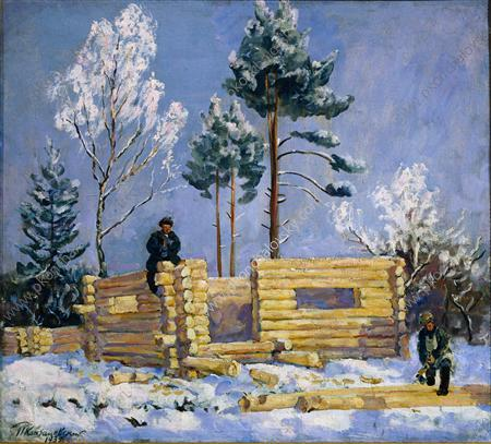 The construction of bathhouse, 1935 by Pyotr Konchalovsky (1876-1956, Russia)