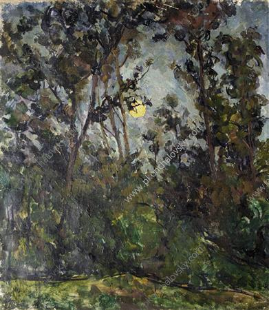 The moon through the trees, 1923 by Pyotr Konchalovsky (1876-1956, Russia)