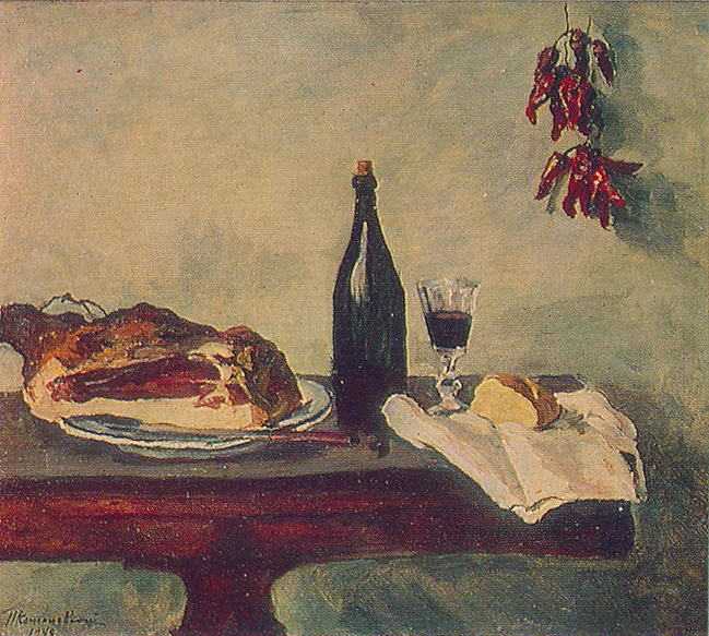 Still Life. Bread, ham and wine., 1948 by Pyotr Konchalovsky (1876-1956, Russia)