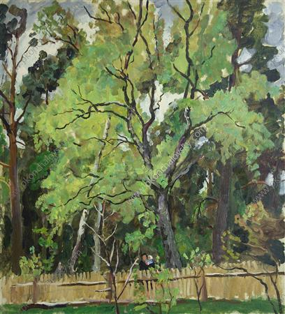 The trees behind the fence, 1940 by Pyotr Konchalovsky (1876-1956, Russia)