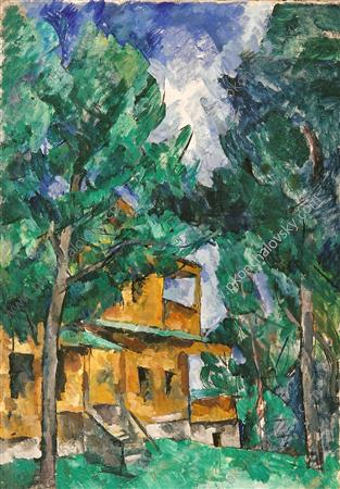 Kuntsevo. Yellow cottage., 1919 by Pyotr Konchalovsky (1876-1956, Russia)