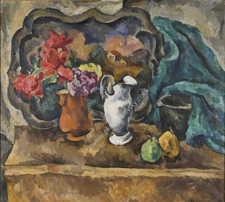 Still Life. Tray and flowers., 1918 by Pyotr Konchalovsky (1876-1956, Russia)