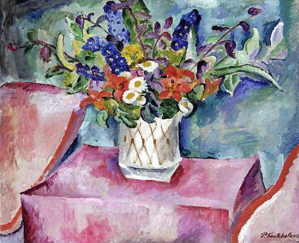 Still Life. Flowers in pink., 1918 by Pyotr Konchalovsky (1876-1956, Russia)