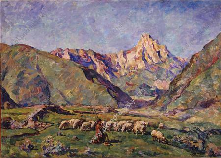 Sion. Shepherd and sheeps., 1927 by Pyotr Konchalovsky (1876-1956, Russia)