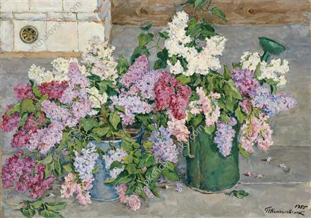 Still Life. Lilac, a bucket and a watering can., 1955 by Pyotr Konchalovsky (1876-1956, Russia)