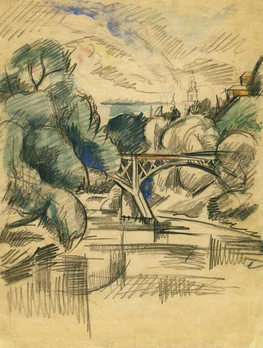 Bridge, 1919 by Pyotr Konchalovsky (1876-1956, Russia)