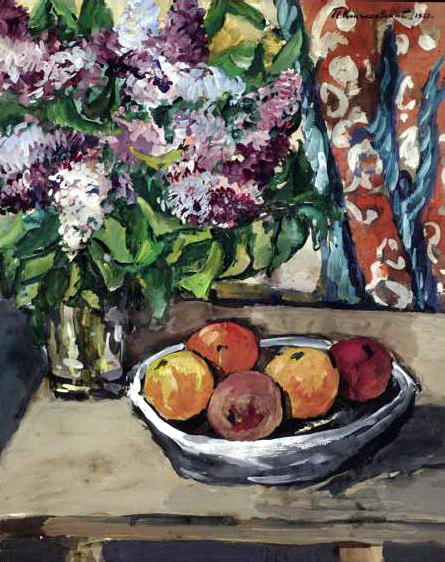 Still life with lilac and orange, 1927 by Pyotr Konchalovsky (1876-1956, Russia) | Museum Art Reproductions | ArtsDot.com
