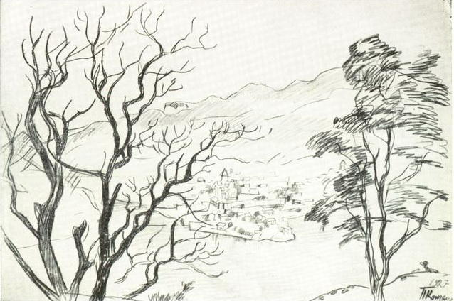 View of Mtskheta from the mountain, Pencil by Pyotr Konchalovsky (1876-1956, Russia)