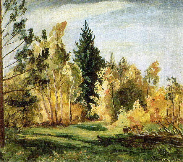 A ray of sunlight. The forest., 1930 by Pyotr Konchalovsky (1876-1956, Russia)