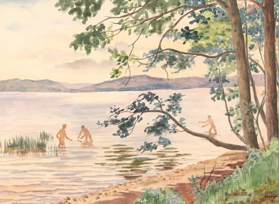 Lake Hepoyarvi, Bathing, 1951 by Pyotr Konchalovsky (1876-1956, Russia) | Museum Art Reproductions | ArtsDot.com