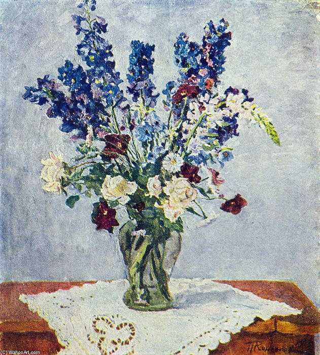 Delphinium and Rose by Pyotr Konchalovsky (1876-1956, Russia)