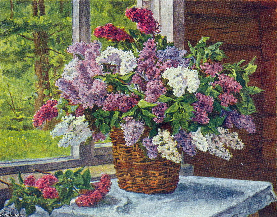 Lilacs by the window by Pyotr Konchalovsky (1876-1956, Russia)