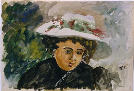 Female portrait (Voronova). Study., Watercolour by Pyotr Konchalovsky (1876-1956, Russia)