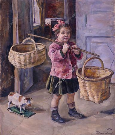To the water. Katya with baskets., 1934 by Pyotr Konchalovsky (1876-1956, Russia)