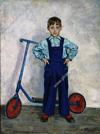 Lavrushka with scooter, a grandson of the artist, 1952 by Pyotr Konchalovsky (1876-1956, Russia)