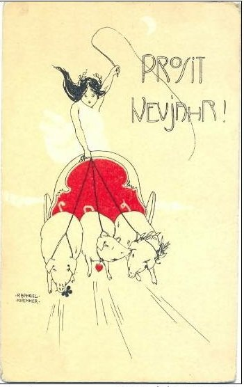 Happy New Year, 1899 by Raphael Kirchner (1875-1917, Austria) | Museum Quality Reproductions | ArtsDot.com