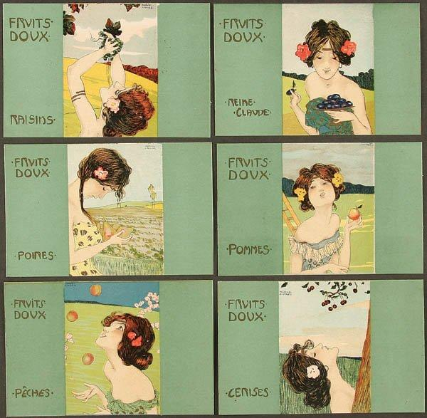 Apples, sweet fruits, Lithography by Raphael Kirchner (1875-1917, Austria)