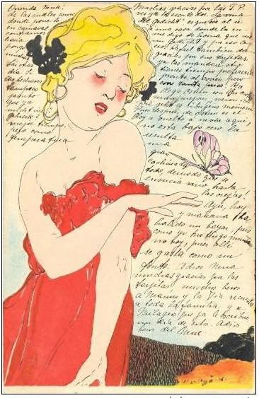 Love Thoughts, 1900 by Raphael Kirchner (1875-1917, Austria) | ArtsDot.com