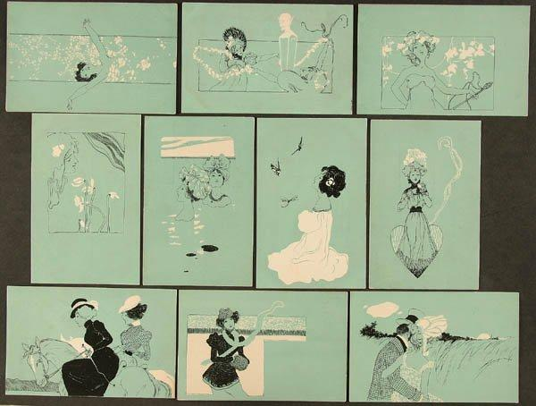Figures on turquoise background, 1901 by Raphael Kirchner (1875-1917, Austria) | Art Reproduction | ArtsDot.com