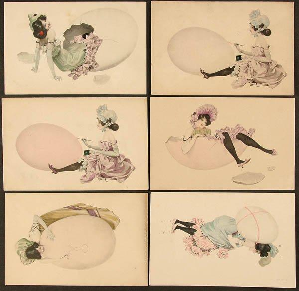 Girls and Eggs, 1901 by Raphael Kirchner (1875-1917, Austria)