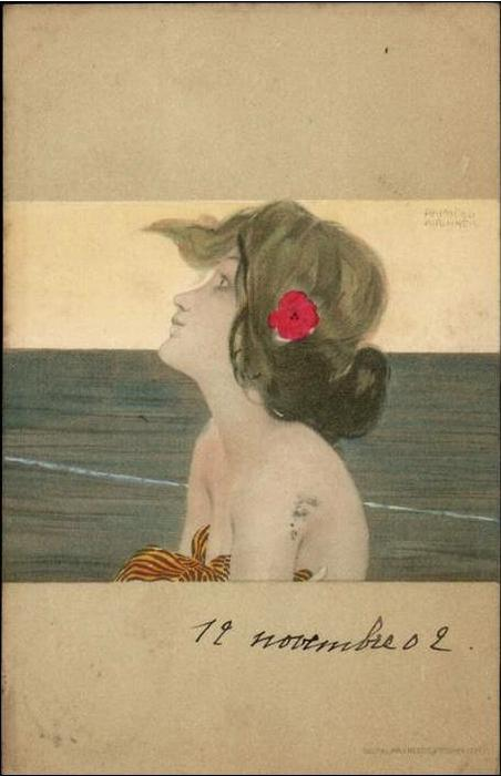 Girls between brown-green borders, 1901 by Raphael Kirchner (1875-1917, Austria) | ArtsDot.com