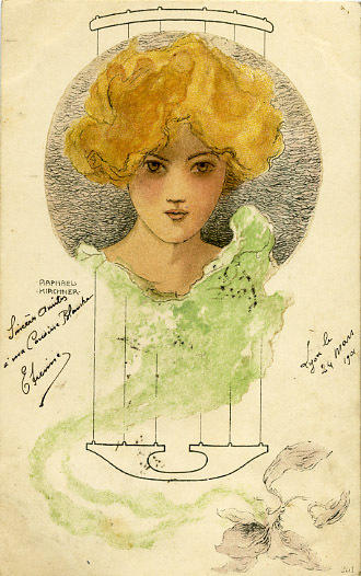 Girls heads in a circle, 1901 by Raphael Kirchner (1875-1917, Austria)
