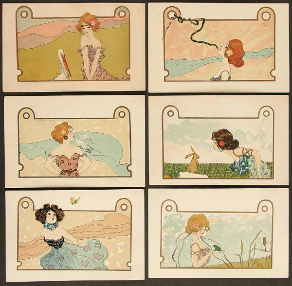 Girls with Animals, 1901 by Raphael Kirchner (1875-1917, Austria)