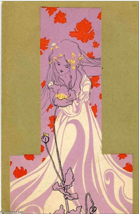 Girls with olive green surrounds, 1901 by Raphael Kirchner (1875-1917, Austria) | Art Reproduction | ArtsDot.com