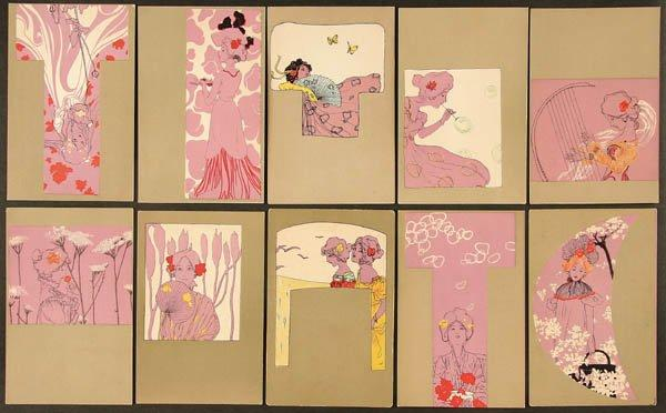 Girls with olive green surrounds (11), 1901 by Raphael Kirchner (1875-1917, Austria)