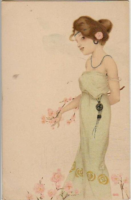Girls with flowers at feet, 1902 by Raphael Kirchner (1875-1917, Austria)