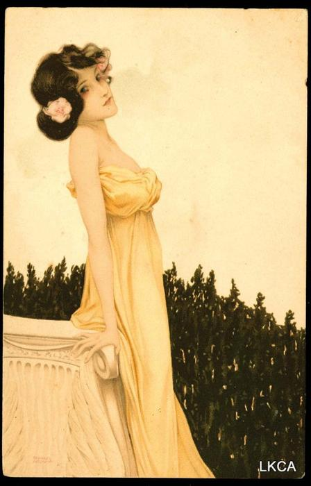 Girls with flowers at feet, 1902 by Raphael Kirchner (1875-1917, Austria) | Oil Painting | ArtsDot.com